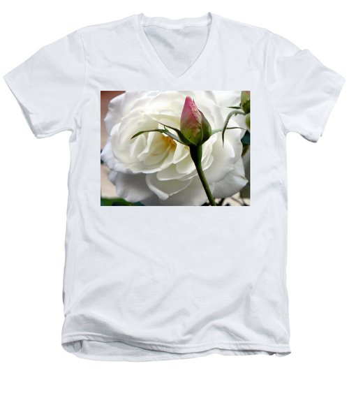 Men's V-Neck T-Shirt featuring the photograph Emergence by Deb Halloran
