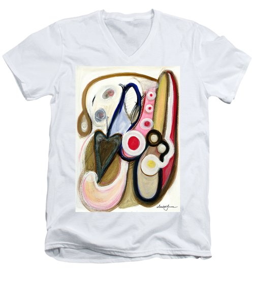 Men's V-Neck T-Shirt featuring the painting Emotions by Stephen Lucas