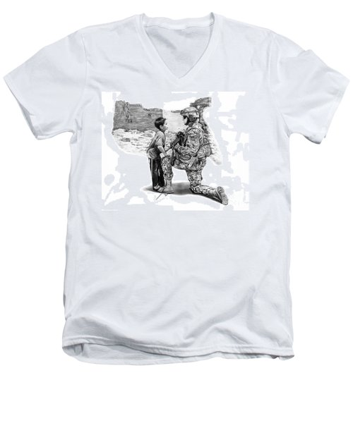 Men's V-Neck T-Shirt featuring the drawing Empty Pockets  by Peter Piatt