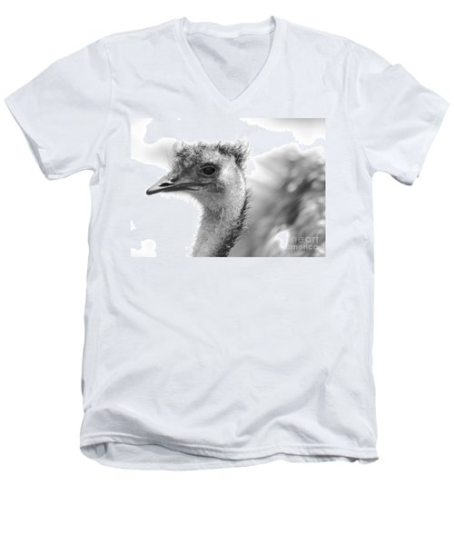 Emu - Black And White Men's V-Neck T-Shirt by Carol Groenen