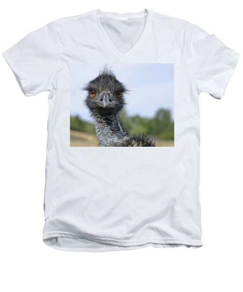 Men's V-Neck T-Shirt featuring the photograph Emu Gaze by Belinda Greb