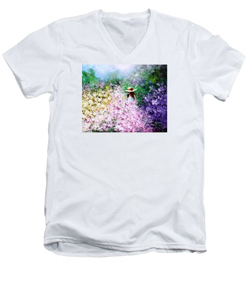 Men's V-Neck T-Shirt featuring the painting End Of May by Kume Bryant