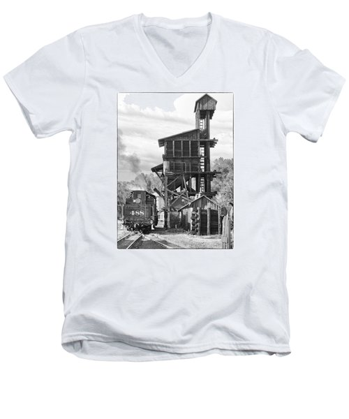 Engine 488 At The Tipple Men's V-Neck T-Shirt by Shelly Gunderson
