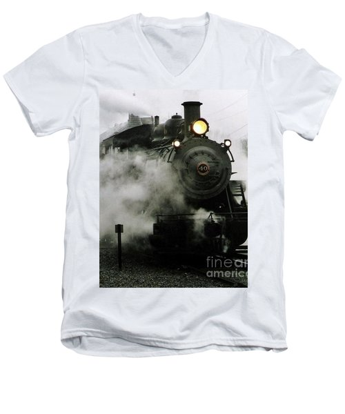 Engine Number 40 Making Steam Pulling Into New Hope Passenger Train Terminal Men's V-Neck T-Shirt by Michael Hoard
