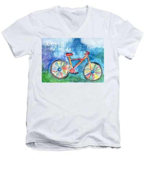 Enjoy The Ride- Colorful Bike Painting Men's V-Neck T-Shirt