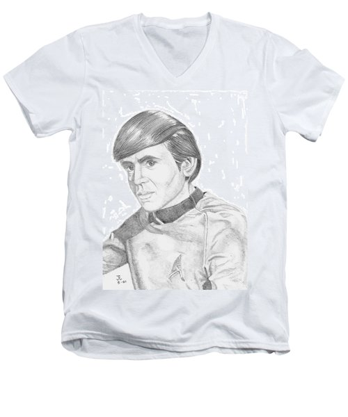 Men's V-Neck T-Shirt featuring the drawing Ensign Pavel Chekov by Thomas J Herring