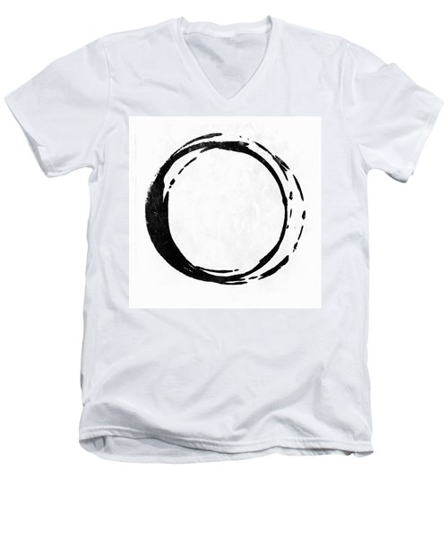Enso No. 107 Black On White Men's V-Neck T-Shirt