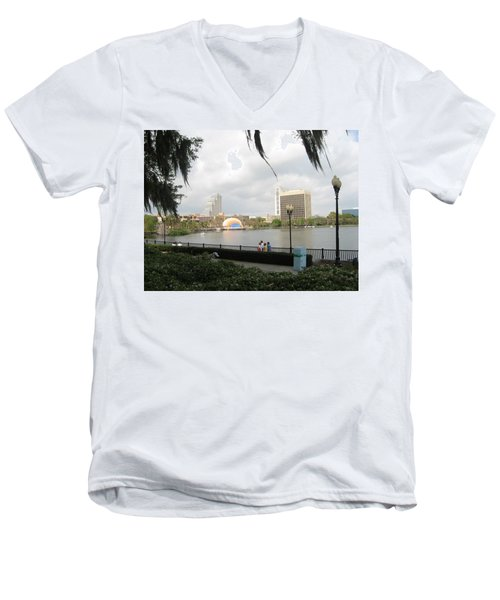 Eola Park In Orlando Men's V-Neck T-Shirt