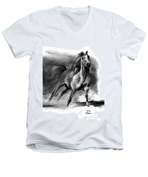 Men's V-Neck T-Shirt featuring the drawing Equine II by Paul Davenport