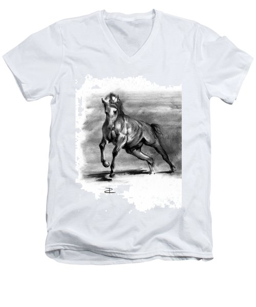 Men's V-Neck T-Shirt featuring the drawing Equine IIi by Paul Davenport