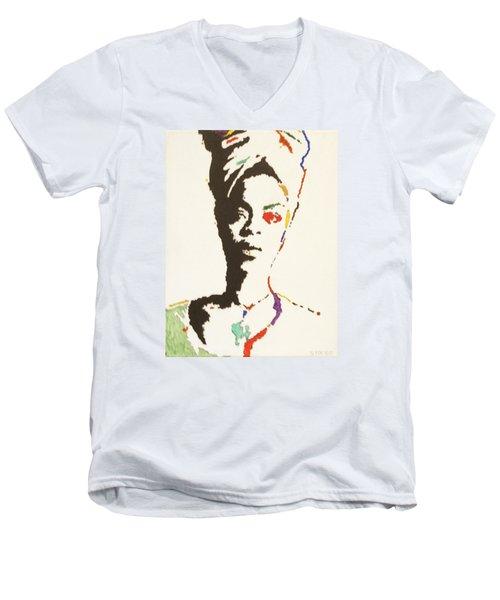 Men's V-Neck T-Shirt featuring the painting Erykah Badu by Stormm Bradshaw
