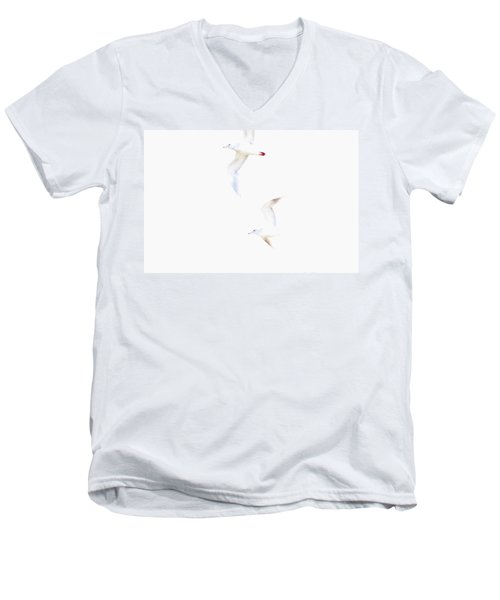 Men's V-Neck T-Shirt featuring the photograph Ethereal Gulls by Peggy Collins