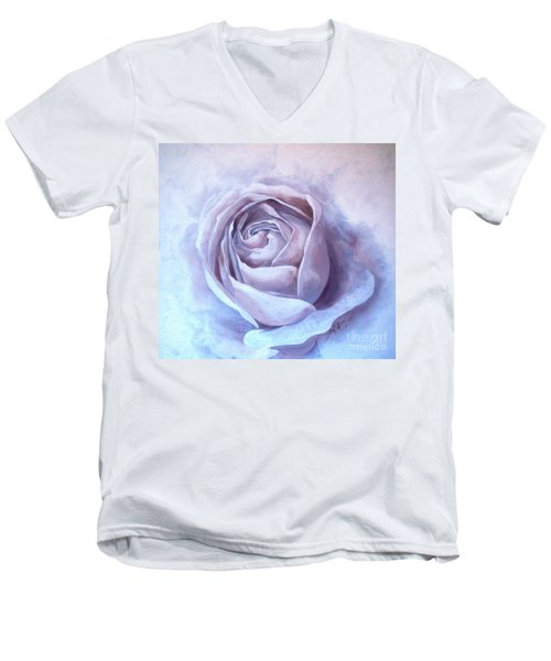 Men's V-Neck T-Shirt featuring the painting Ethereal Rose by Sandra Phryce-Jones