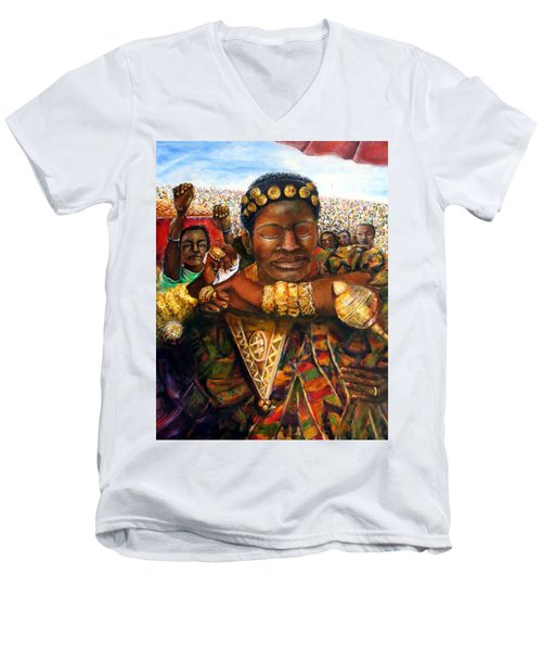 Ethiopia Dancing  Men's V-Neck T-Shirt by Bernadette Krupa