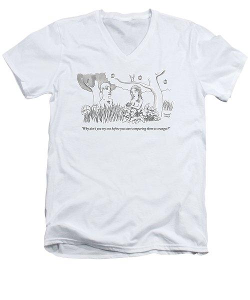 Eve Hands An Apple To Adam In The Garden Of Eden Men's V-Neck T-Shirt