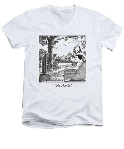 Eve Offers Adam An Apple Men's V-Neck T-Shirt