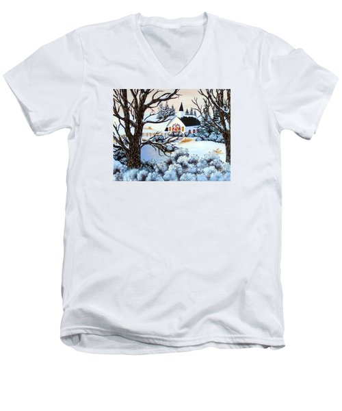 Men's V-Neck T-Shirt featuring the painting Evening Services by Barbara Griffin