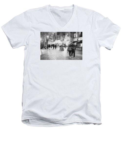 Evening Stroll In Paris Men's V-Neck T-Shirt by Hugh Smith