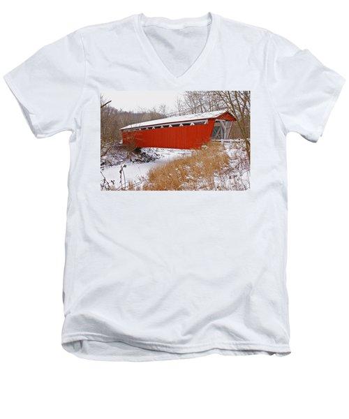 Everett Rd. Covered Bridge In Winter Men's V-Neck T-Shirt