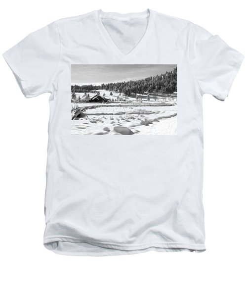 Evergreen Lake House In Winter Men's V-Neck T-Shirt