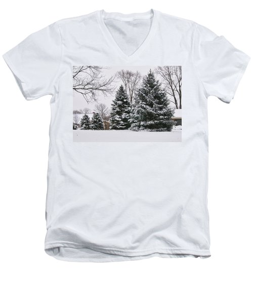 Evergreens In The Snow Men's V-Neck T-Shirt