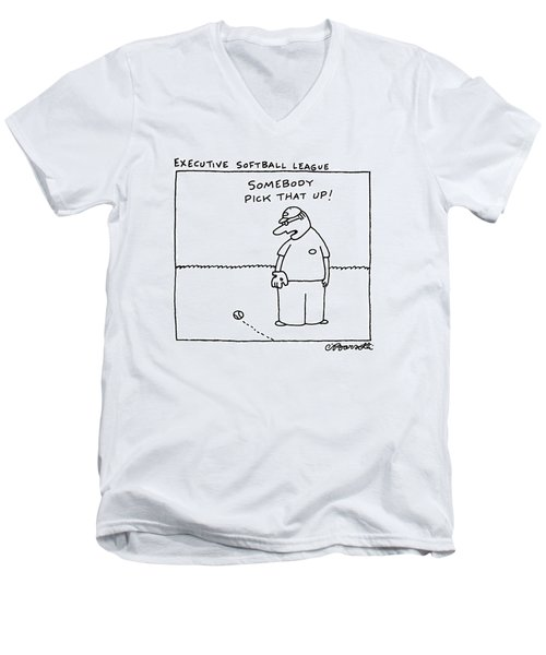 Executive Softball League Men's V-Neck T-Shirt by Charles Barsotti