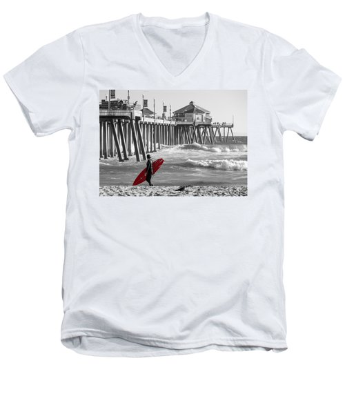 Existential Surfing At Huntington Beach Selective Color Men's V-Neck T-Shirt