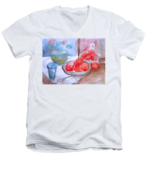 Men's V-Neck T-Shirt featuring the painting Expectation by Jasna Dragun