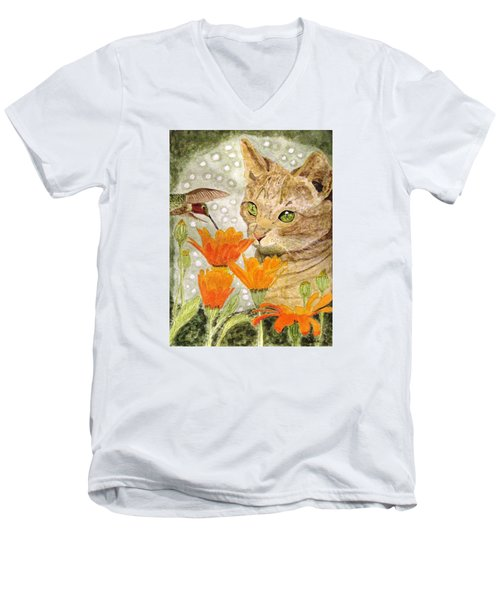 Men's V-Neck T-Shirt featuring the painting Eye To Eye by Angela Davies