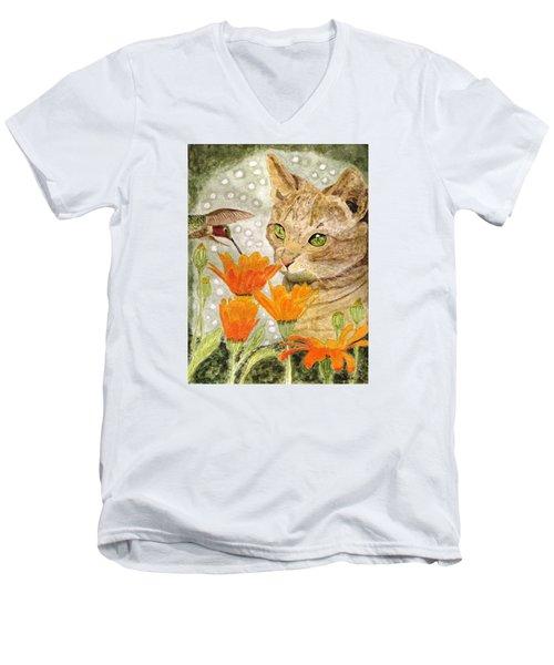 Eye To Eye Men's V-Neck T-Shirt by Angela Davies