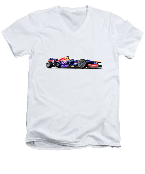 Men's V-Neck T-Shirt featuring the photograph F1 Red Bull Rb9 by Gianfranco Weiss
