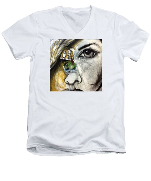 Face To Face Men's V-Neck T-Shirt by Helen Syron