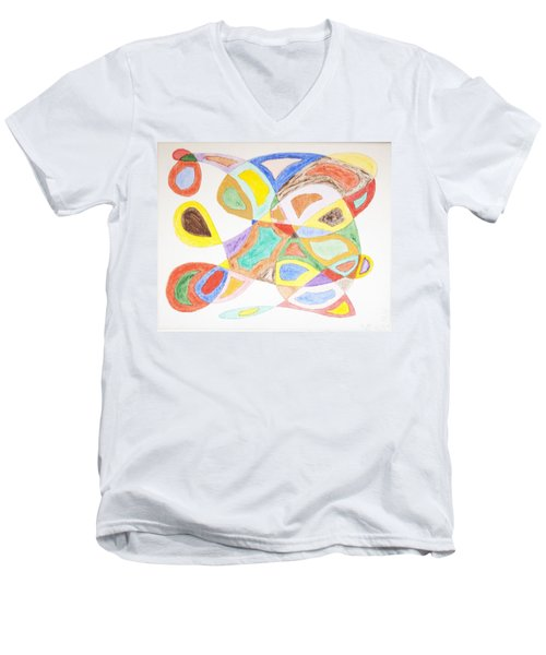 Men's V-Neck T-Shirt featuring the painting Masks by Stormm Bradshaw