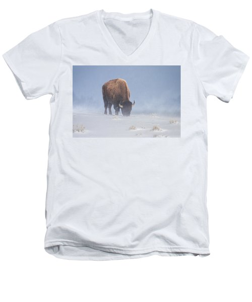Men's V-Neck T-Shirt featuring the photograph Faces The Blizzard by Jack Bell