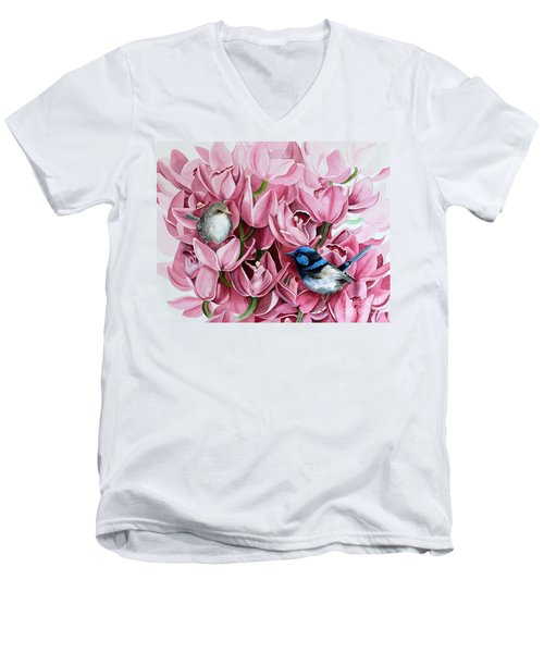 Fairy Wrens And Orchids Men's V-Neck T-Shirt by Debbie Hart