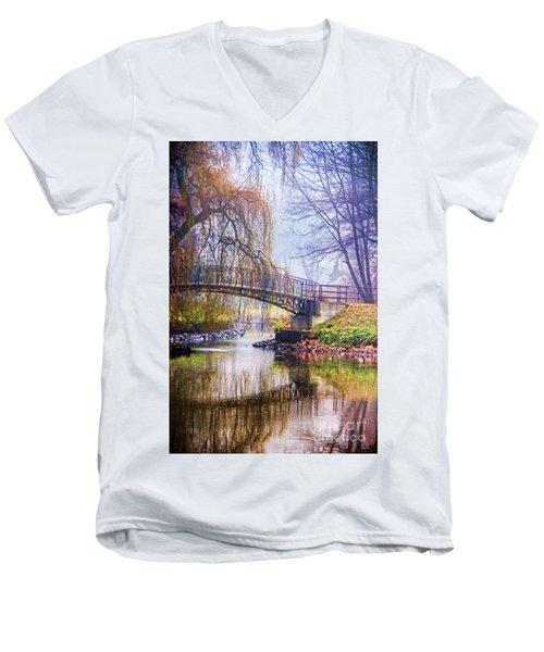 Fairytale Bridge Men's V-Neck T-Shirt by Mariola Bitner