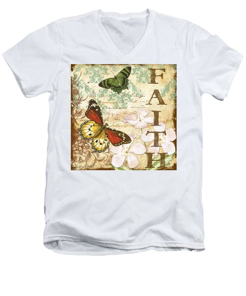 Faith And Butterflies Men's V-Neck T-Shirt by Jean Plout