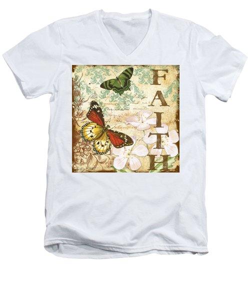 Faith And Butterflies Men's V-Neck T-Shirt