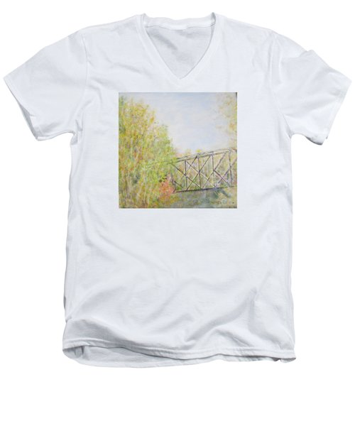 Fall Foliage And Bridge In Nh Men's V-Neck T-Shirt