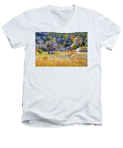 Fall In The Texas Hill Country Men's V-Neck T-Shirt by Savannah Gibbs