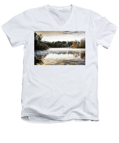 Fall Scene On The Mississippi Men's V-Neck T-Shirt