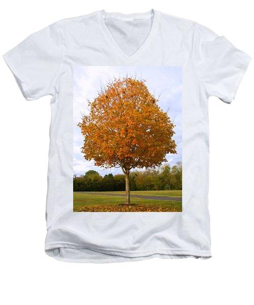 Fall Sugar Maple Men's V-Neck T-Shirt by Melinda Fawver