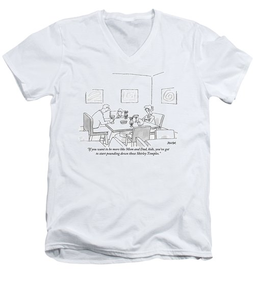Family Around Table Men's V-Neck T-Shirt