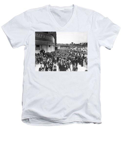 Fans Leaving Yankee Stadium. Men's V-Neck T-Shirt by Underwood Archives
