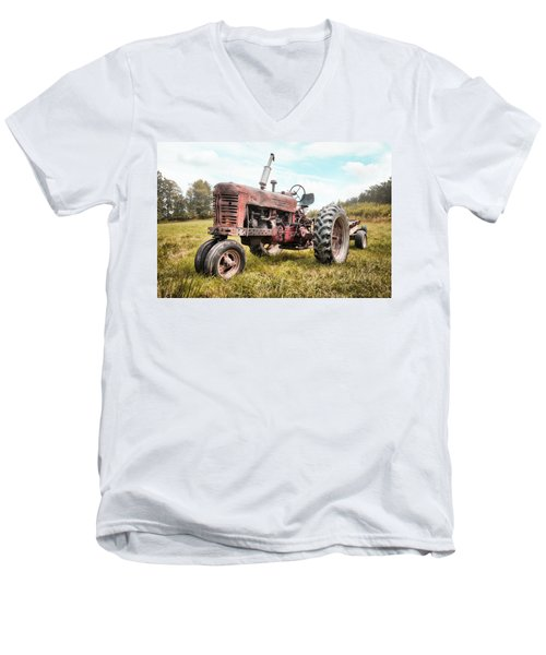 Men's V-Neck T-Shirt featuring the photograph Farmall Tractor Dream - Farm Machinary - Industrial Decor by Gary Heller