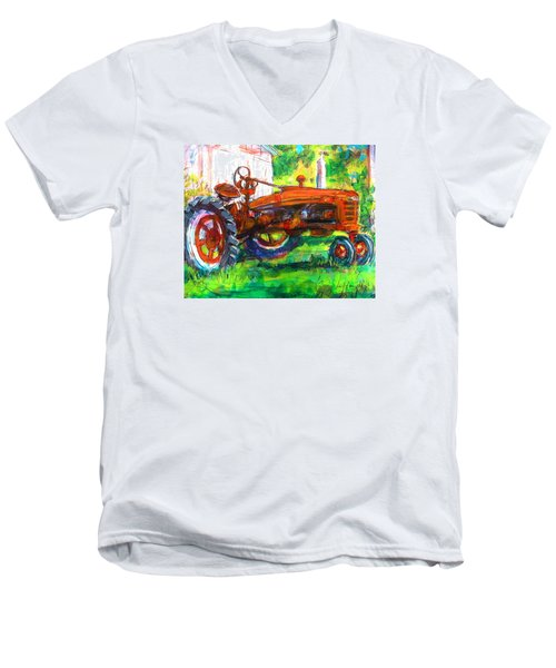 Farmall Tractor Men's V-Neck T-Shirt by Les Leffingwell