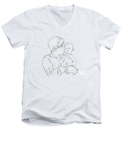 Men's V-Neck T-Shirt featuring the drawing Father And Son by Olimpia - Hinamatsuri Barbu