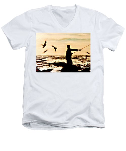 Men's V-Neck T-Shirt featuring the mixed media Father Fisherman by Desline Vitto