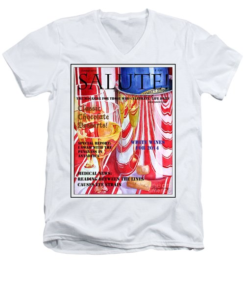 Men's V-Neck T-Shirt featuring the painting Faux Magazine Cover by Mariarosa Rockefeller