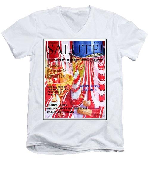 Faux Magazine Cover Men's V-Neck T-Shirt by Mariarosa Rockefeller